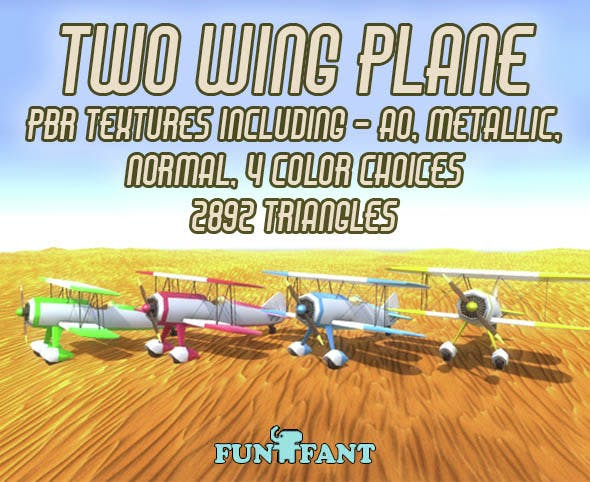 Low Poly Two Wing Plane - 3DOcean Item for Sale