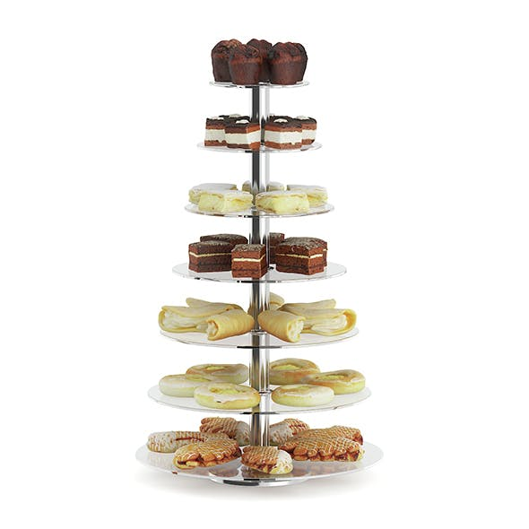 Glass Stand with Sweatrolls and Cakes