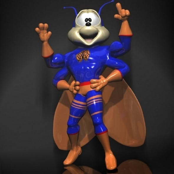 Super Cicada Cartoon Character RIGGED - 3DOcean Item for Sale