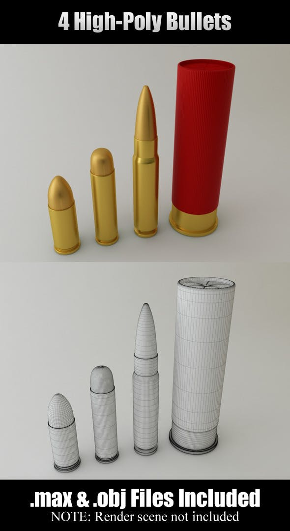 4 High-Poly Bullets - 3DOcean Item for Sale