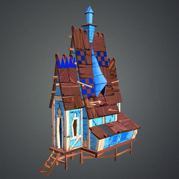 Low Poly Stylized Wooden House - 3DOcean Item for Sale