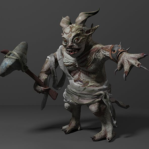 Fantasy troll with weapon