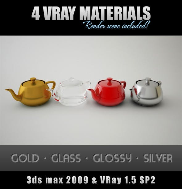4 VRay Materials with Render Scene - 3DOcean Item for Sale