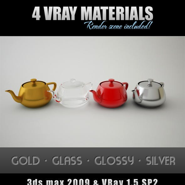4 VRay Materials with Render Scene