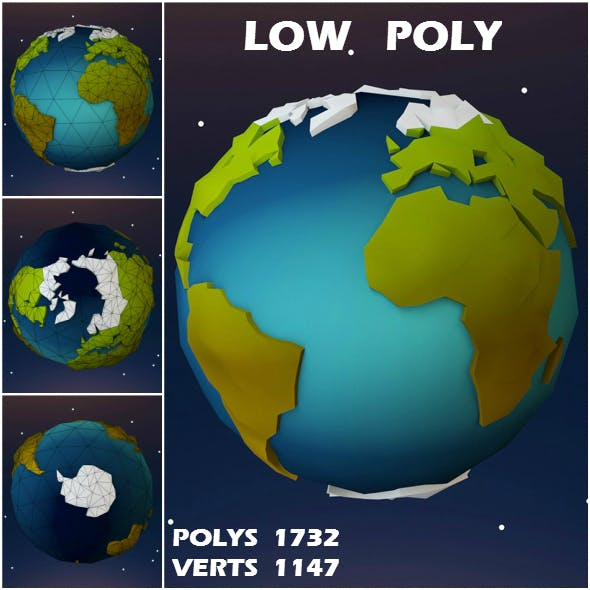 Low Poly 3D Earth - 3DOcean Item for Sale