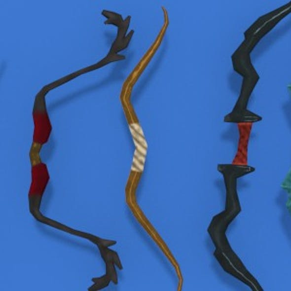 Low Poly Bows Pack, Hand Painted Textures.