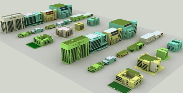 City Building Set Model - 3DOcean Item for Sale