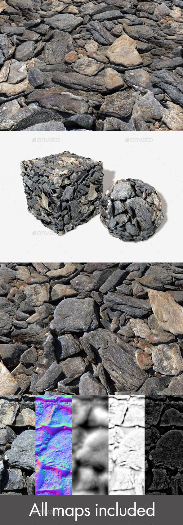 Slate Rocks Seamless Texture - 3DOcean Item for Sale