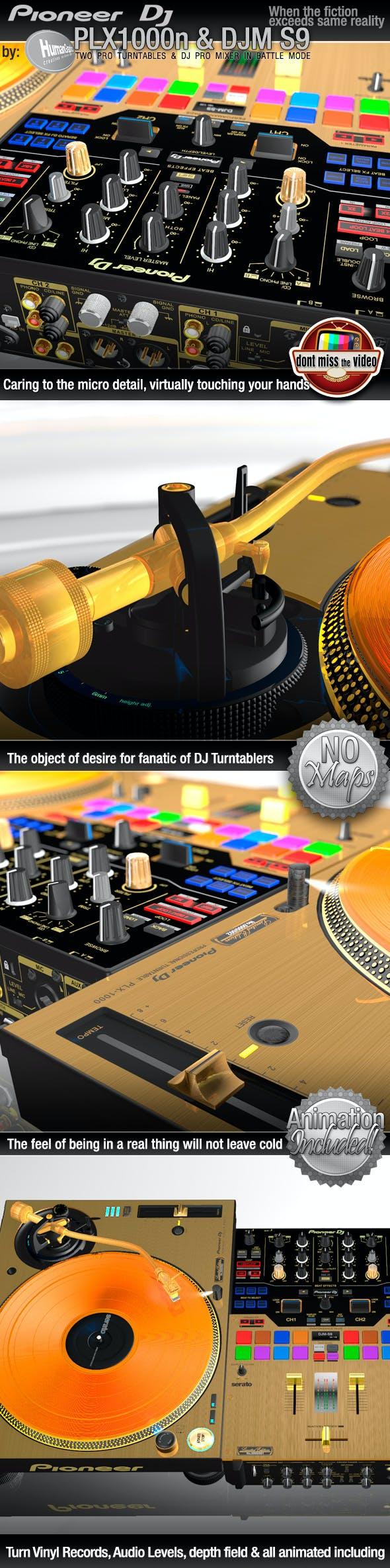 Realistic Gold ProDJ Turntable Pioneer PLX1000 & Mixer DJM S9 Vinyl Turntabilism - 3DOcean Item for Sale