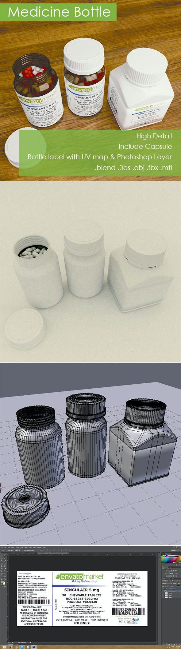 3D Medicine Bottle - 3DOcean Item for Sale
