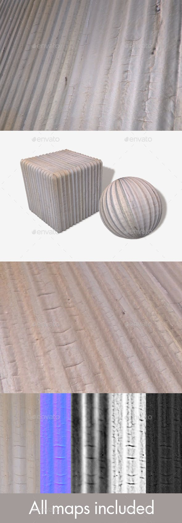 Painted Corrugated Iron Seamless Texture - 3DOcean Item for Sale