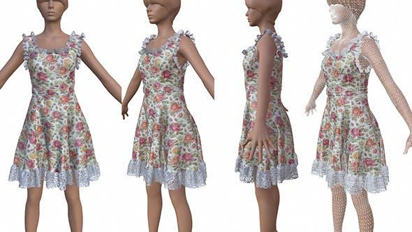 3D female flower dress - 3DOcean Item for Sale