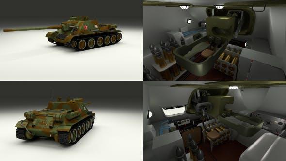 SU 100 with Interior Camo - 3DOcean Item for Sale