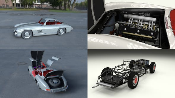 Fully Modelled/Rigged Mercedes 300SL Gullwing HDRI - 3DOcean Item for Sale