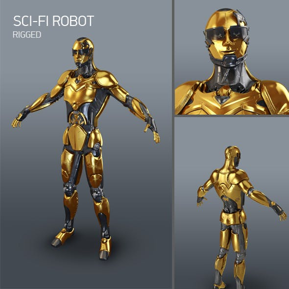 Sci-Fi robot 3D model - 3DOcean Item for Sale