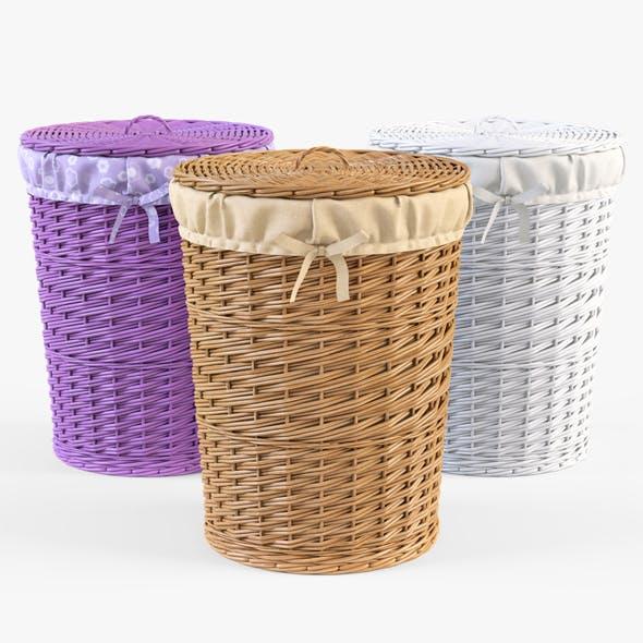 Wicker Laundry Basket 03 Set (3 Color)