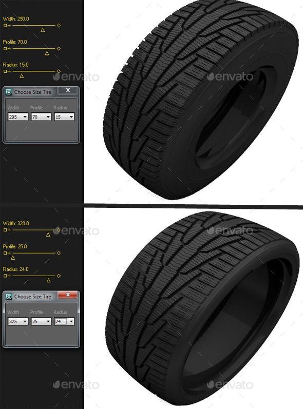 Max-Scripted Tire Size Changer - 3DOcean Item for Sale