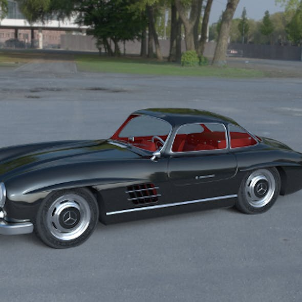 Rigged Mercedes 300SL Gullwing with Interior HDRI