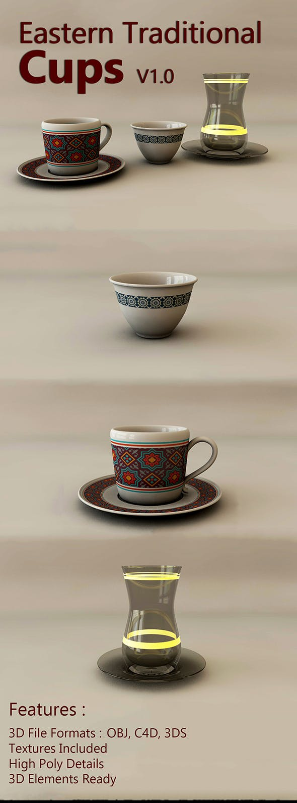 Eastern Traditional Cups V1.0 - 3DOcean Item for Sale