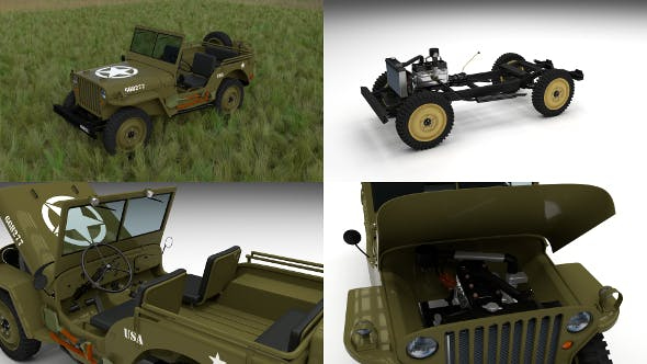 Full (w chassis) Jeep Willys MB Military HDRI - 3DOcean Item for Sale