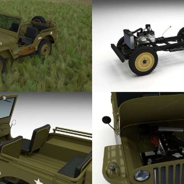 Full (w chassis) Jeep Willys MB Military HDRI