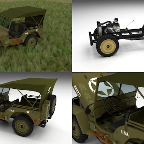 Full (w chassis) Jeep Willys MB Military Top HDRI