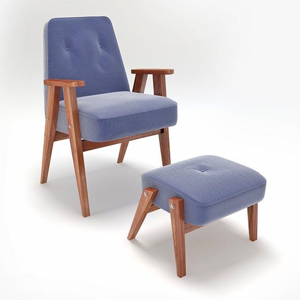 Retro Blue Chair and Ottoman