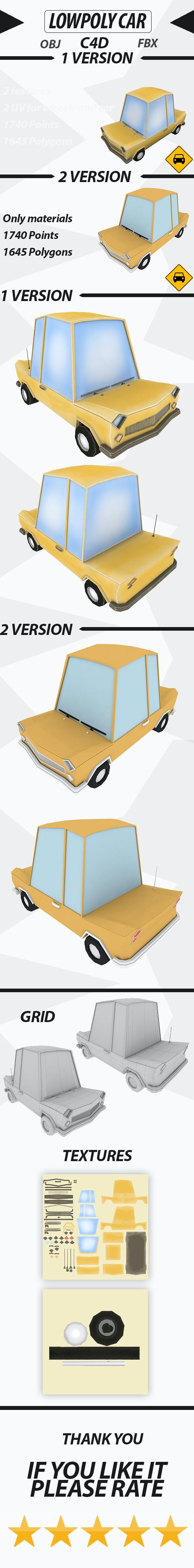 Lowpoly car - 3DOcean Item for Sale