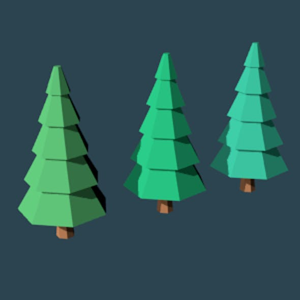 Low Poly Trees Set No. 2