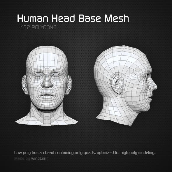 Low Poly Human Head - Base Mesh