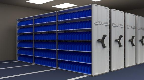 Mobile shelving system - 3DOcean Item for Sale