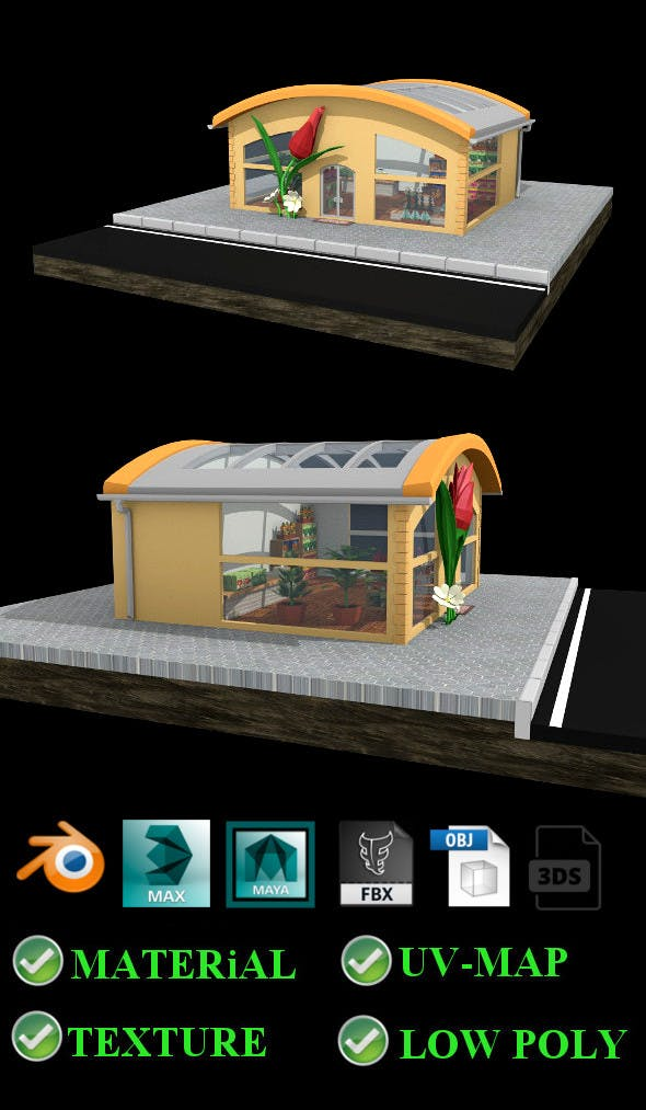 Low poly Flower Shop - 3DOcean Item for Sale