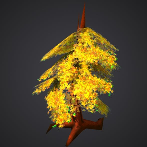 Low Poly Fall Tree Model