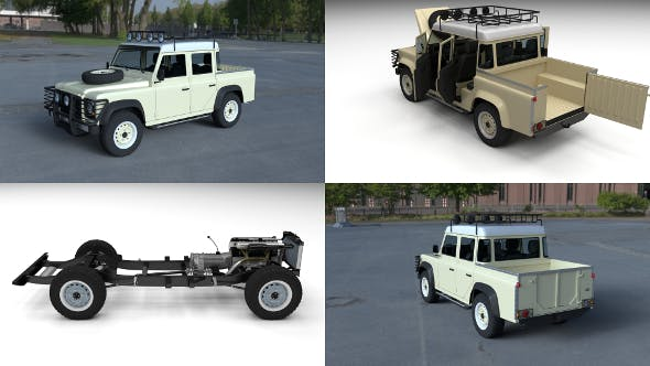 Full Land Rover Defender 110 Double Cab Pick Up HDRI - 3DOcean Item for Sale