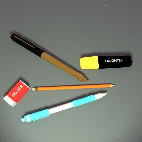 Stationery items. - 3DOcean Item for Sale