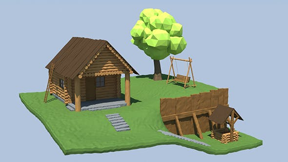 Wooden House, Well, Swing - 3DOcean Item for Sale