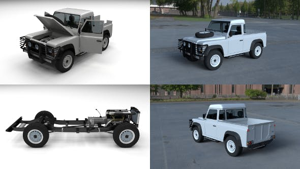 Full Land Rover Defender 90 Pick Up HDRI - 3DOcean Item for Sale