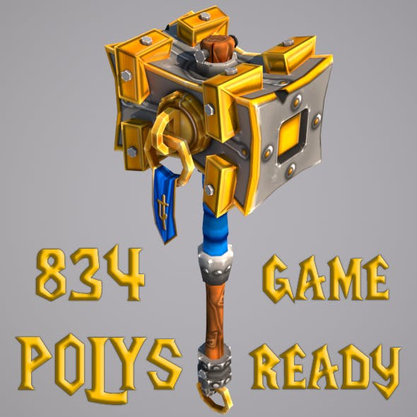 Low Poly Mace Game Ready