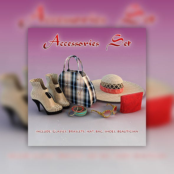 Woman accessories set - 3DOcean Item for Sale