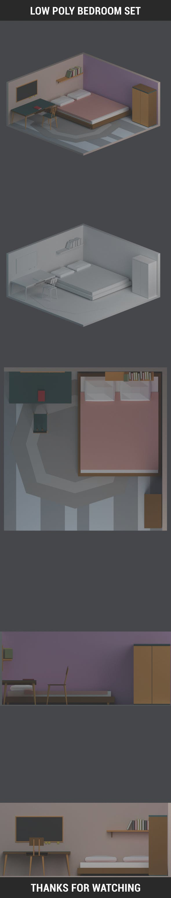 Low Poly Bedroom Set - 3DOcean Item for Sale
