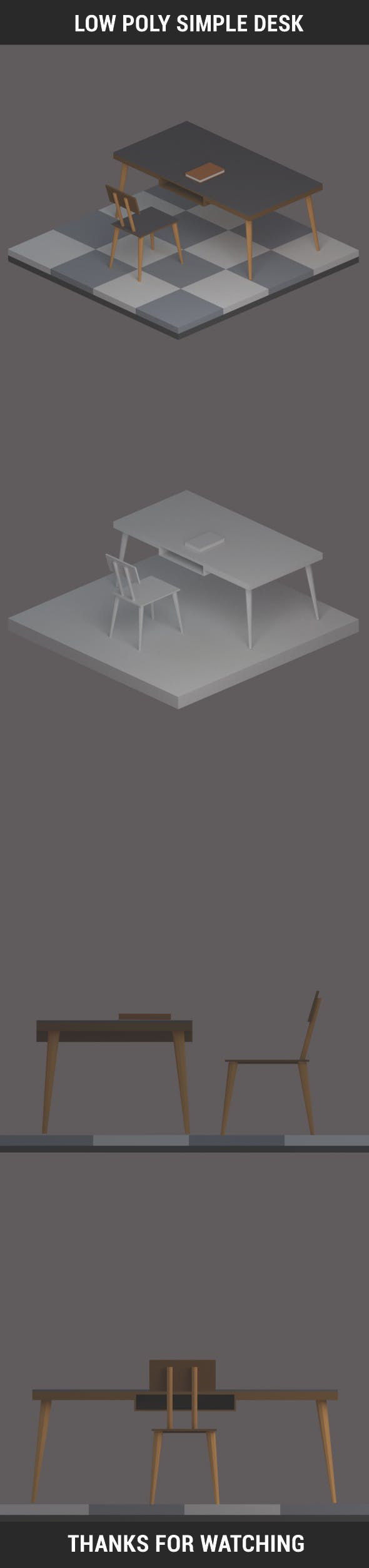 Low Poly Simple Desk - 3DOcean Item for Sale