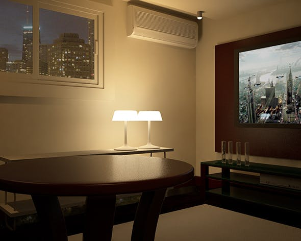 Lliving Rroom with V-ray Night Scene Setup - 3DOcean Item for Sale