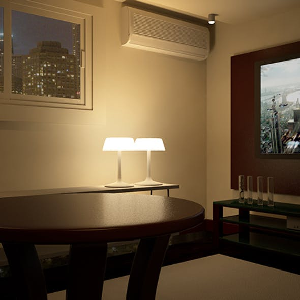 Lliving Rroom with V-ray Night Scene Setup