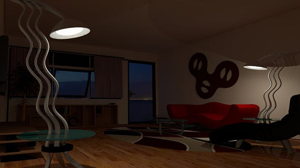 Living Room V-ray Night Scene Setup - 3DOcean Item for Sale