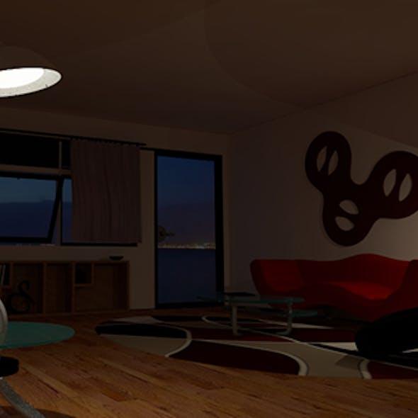 Living Room V-ray Night Scene Setup