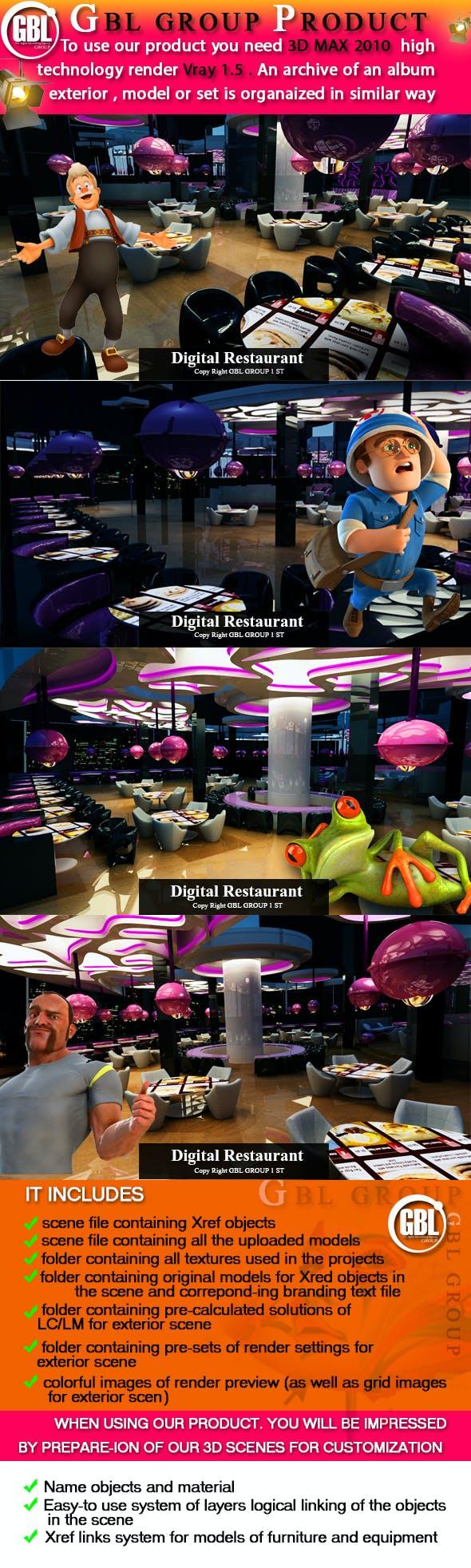 Surprise Digital Signage Restaurant here - 3DOcean Item for Sale