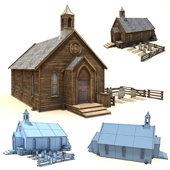 Low Poly Wild West Church