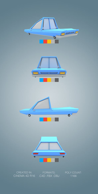 Low Poly Sportcar - 3DOcean Item for Sale