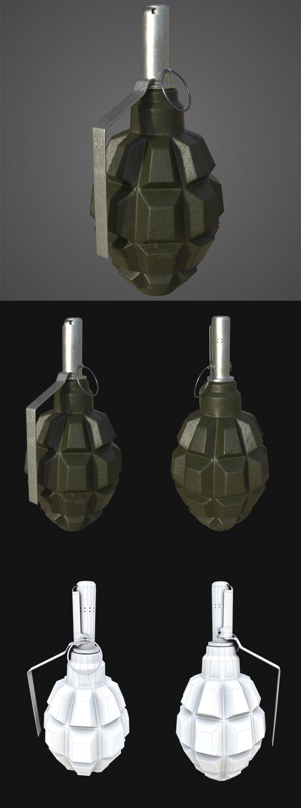 Low-Poly Grenade F-1 - 3DOcean Item for Sale