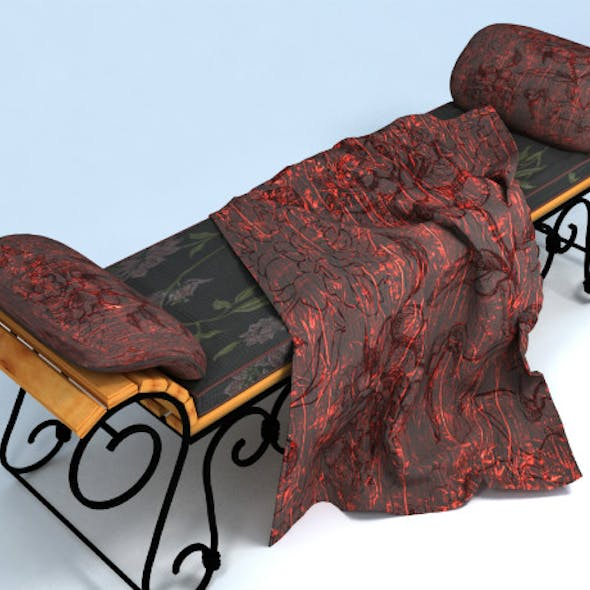 Wrought iron bench and pillow